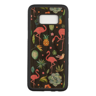 Pink Flamingos & Tropical Flowers Pattern Carved Samsung Galaxy S8 Case
