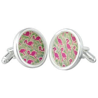 Pink Flamingos Tropical Pattern Cufflinks