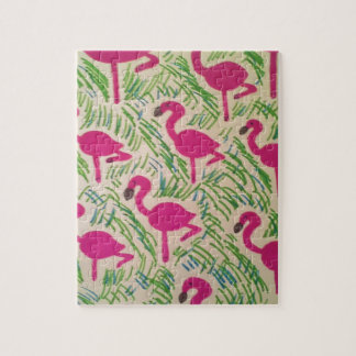 Pink Flamingos Tropical Pattern Jigsaw Puzzle