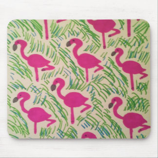 Pink Flamingos Tropical Pattern Mouse Pad