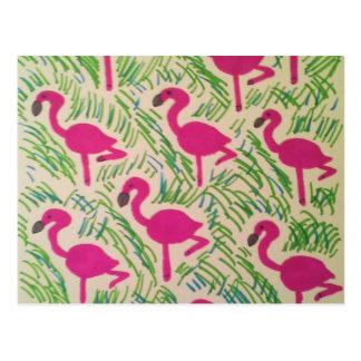 Pink Flamingos Tropical Pattern Postcard