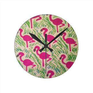Pink Flamingos Tropical Pattern Round Clock