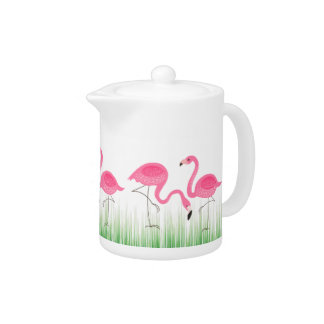 Pink Flamingos With Green Grass