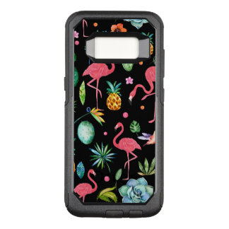 Pink Flamingos With Tropical Flowers & Leafs OtterBox Commuter Samsung Galaxy S8 Case