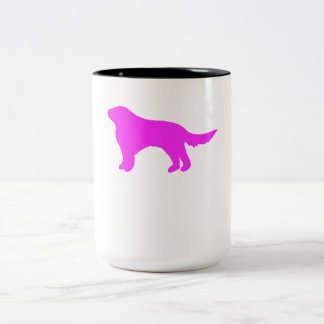 Pink Flat Coated Retriever Silhouette Coffee Mugs