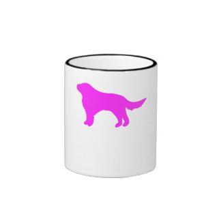 Pink Flat Coated Retriever Silhouette Mugs