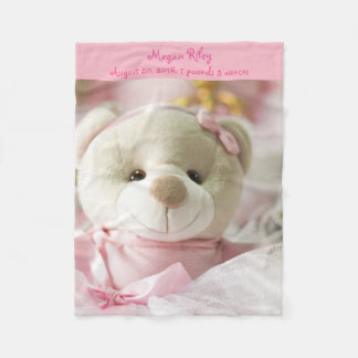 Pink Fleece Blanket Baby Girl Teddy Bear