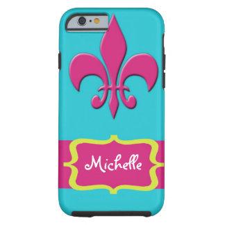Pink Fleur de Lis with Blue Tough iPhone 6 Case