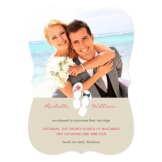 Pink Flip Flops Beach Wedding Photo Announcement