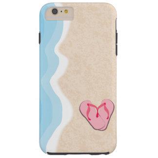 Pink Flip Flops on the Beach Tough iPhone 6 Plus Case