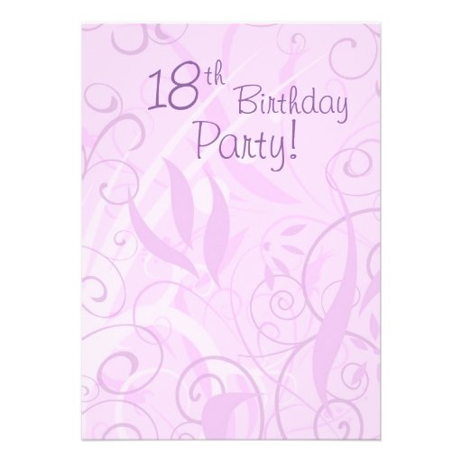 Pink Floral 18th Birthday Party Invitations 13 Cm X 18 Cm