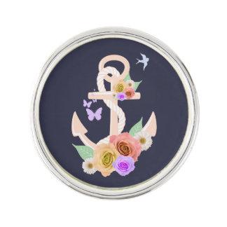 Pink Floral Anchor Lapel Pin