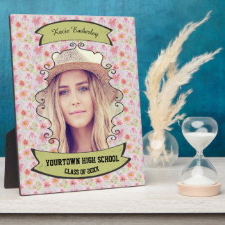 Pink Floral  and Leaves Photo Graduation Plaque