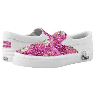 Pink Floral Arrangement Faux Glitter Spring Fever Slip-On Shoes