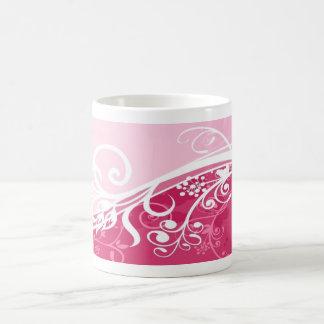 Pink Floral Basic White Mug