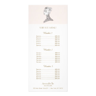 Pink Floral Beauty Girl Salon Price List Menu Full Color Rack Card