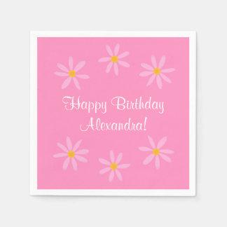 Pink Floral Birthday Alexandra (Name) Disposable Napkin