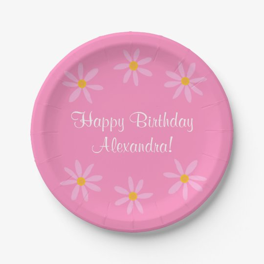 Pink Floral Birthday Alexandra (Name) Paper Plate
