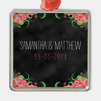 Pink Floral Black Chalkboard Keepsake Ornaments