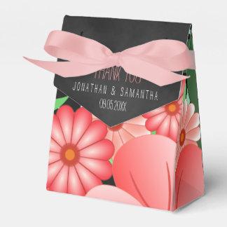 Pink Floral Black Chalkboard Tent Ribbon Favor Box Wedding Favour Boxes