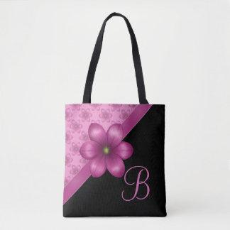 Pink Floral Black Monogram Tote Bag