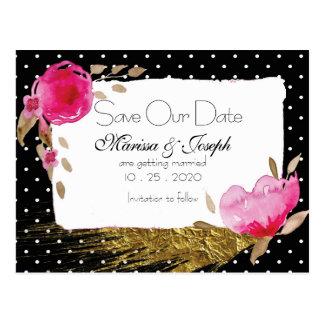 Pink Floral Black & White Polka Dot Save Our Date Postcard