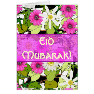 Pink floral bouquet Eid Mubarak Card