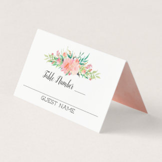 Pink Floral Bouquet Guests and Table Numbers Place Card