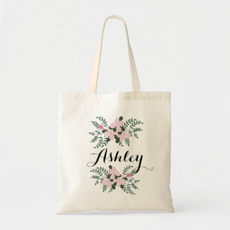 Pink Floral Bouquet I Bridesmaid Custom Name Tote Bag