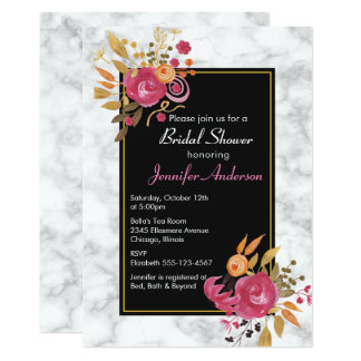 Pink Floral Bouquet on White Marble Bridal Shower Card