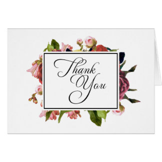 Pink Floral Bouquet Thank You Note Card