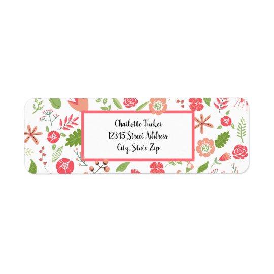 Pink Floral Bouquets - Return Address Label