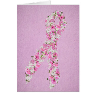 Pink Floral Breast Cancer Awareness Ribbon Card