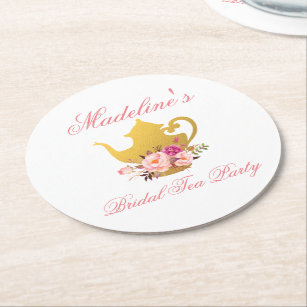 Pink Floral Bridal Shower Tea Party Round Paper Coaster