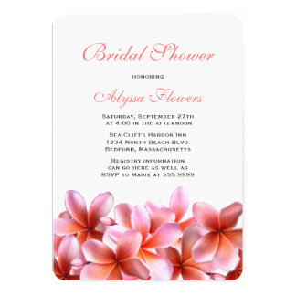 Pink Floral Bridal Shower Tropical Plumeria 13 Cm X 18 Cm Invitation Card