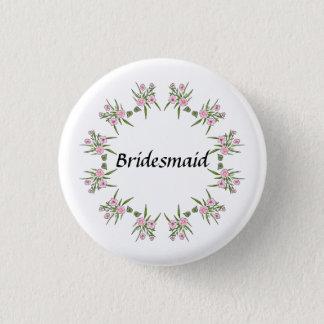 Pink Floral Bridesmaid Button