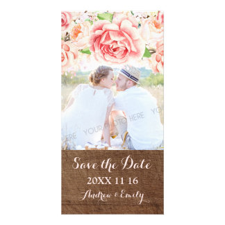 Pink Floral Brown Wood Save the Date Wedding Photo Card