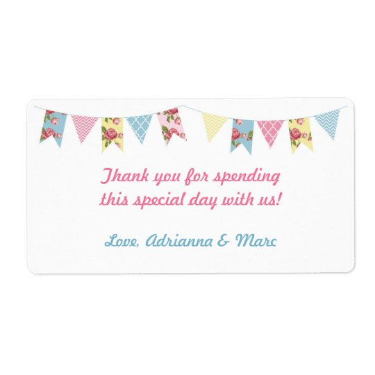 Pink Floral Bunting Baby Shower Favour Label