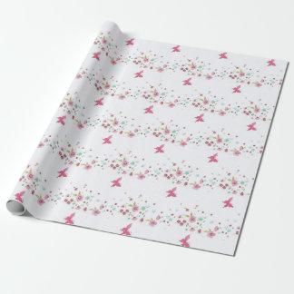 Pink floral , burtaflies Wrapping Paper