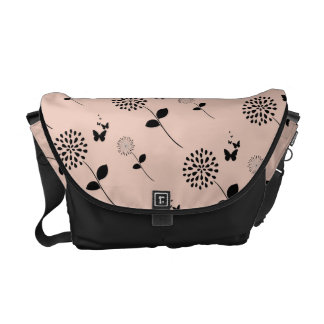 Pink Floral Butterfly Graphic Art Messenger Bag