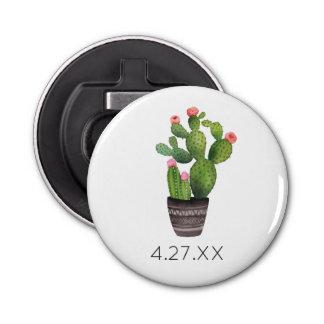Pink Floral Cactus Bottle Opener
