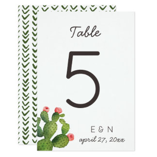 Pink Floral Cactus - Table Number Card