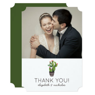 Pink Floral Cactus - Thank You Card