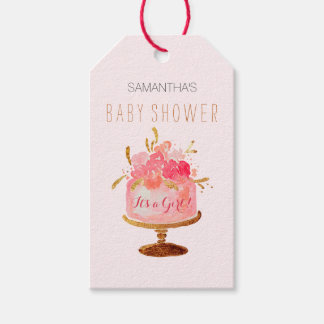 Pink Floral Cake Its a Girl Baby Shower Gift Tags