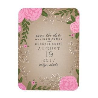 Pink Floral Cardstock Inspired Save The Date Rectangular Photo Magnet