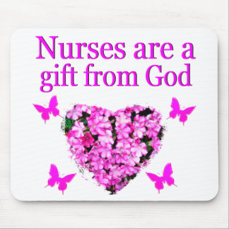 PINK FLORAL CHRISTIAN NURSE DESIGN MOUSE PAD