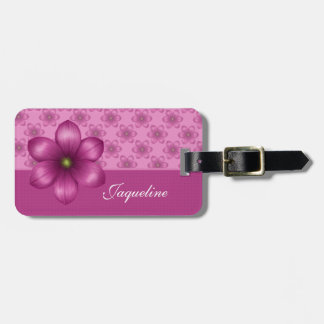 Pink Floral Color Block Luggage Tag