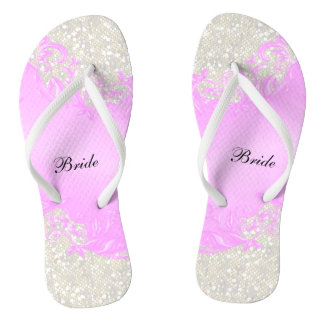 Pink Floral & Confetti Glitter | Wedding Thongs