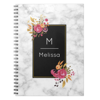 Pink Floral Corner Bouquets on Black Frame Custom Notebook