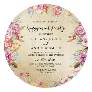 Pink Floral Country Gold Engagement Party Invite